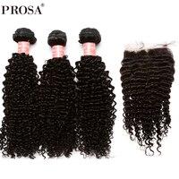 3 человеческих волос Связки с Шёлковые подкладки бразильский странный вьющихся волос, плетение Связки с закрытием 4x4 часть прошва волос remy