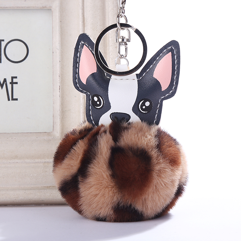 Fluffy Rabbit Fur Ball French Bulldog Keychain Pompom Key Chain Pu Leather Animal Dog Keyring Holder Women Bag Charm Trinket