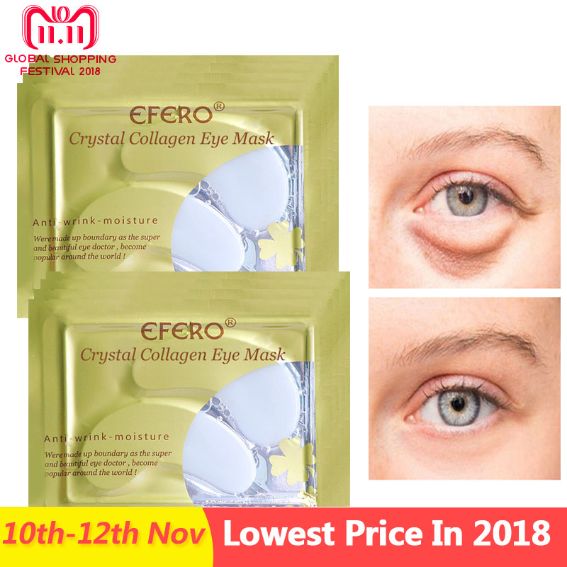 5Pair Crystal Collagen Eye Mask Anti Aging Anti-puffiness Dark Circle Anti Wrinkle Moisture Cream Eye Patches Face Care Eye Mask xishimei pearl eye brightening and regeneration eye cream anti aging