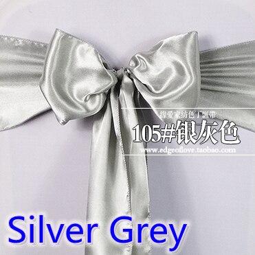 Silver Grey Colour Satin Sash Chair Sash Wedding Decoration Bow Tie Chair Band Party Hotel Show Decoration Sash Shiny Colour