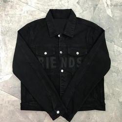 Лучшая версия 2018 Frineds-женщины мужчины черная джинсовая куртка 1:1 высокое качество хип-хоп мужчины Friens-Вышивка куртки джинсовая куртка