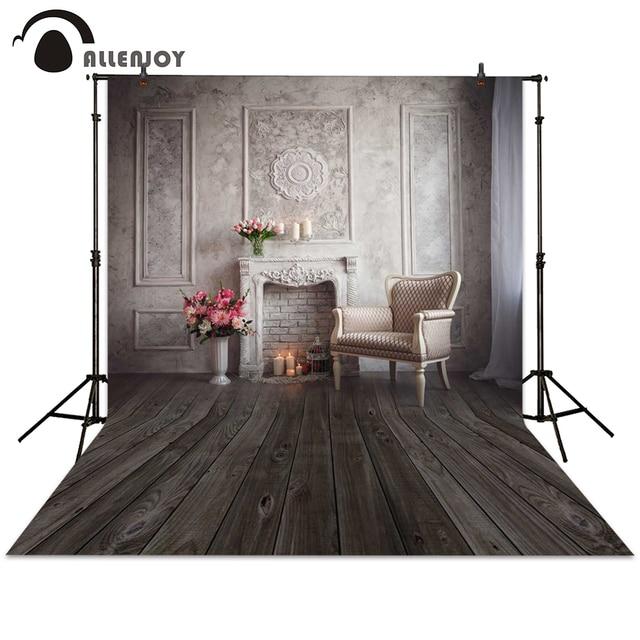 Allenjoy photography backgrounds fireplace bonsai armchair board European indoor wedding backdrop photocall photo studio