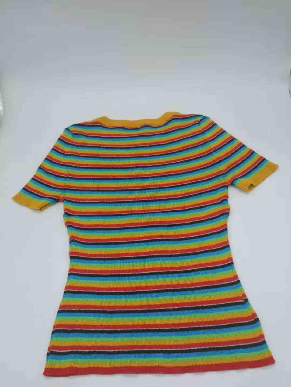 7da5774c599 ... 2018 Unif Rainbow Striped Women Knitted Crop Tops T shirts 2018 Summer  Streetwear Tee Shirts Women