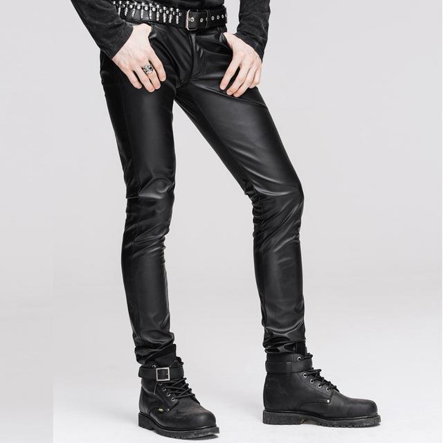 2016 Nuevos Mens Casual Buen Estiramiento Elástico Apretado de Cuero de LA PU pantalones Pitillo Negros Adelgazan Los Pantalones Con Cremallera de Gran Tamaño pantalones