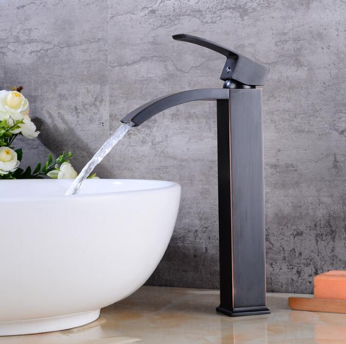 Basin Faucets Brass Oil Rubbed Bronze Bathroom Faucet Tall Single Handle Black Square Deck Mounted Sink Crane Mixer Water Tap wall mounted dual ceramic handle bathroom faucet black oil rubbed bronze faucets swivel spout basin mixer sink tap lnf523