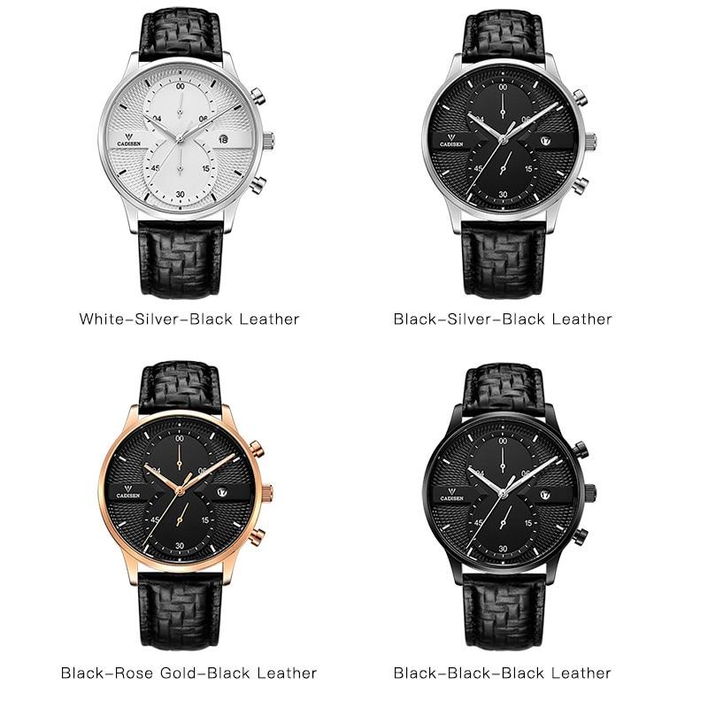 Huippuluokan luksusmerkki CADISEN Miesten urheilukello Aito nahkainen - Miesten kellot - Valokuva 4