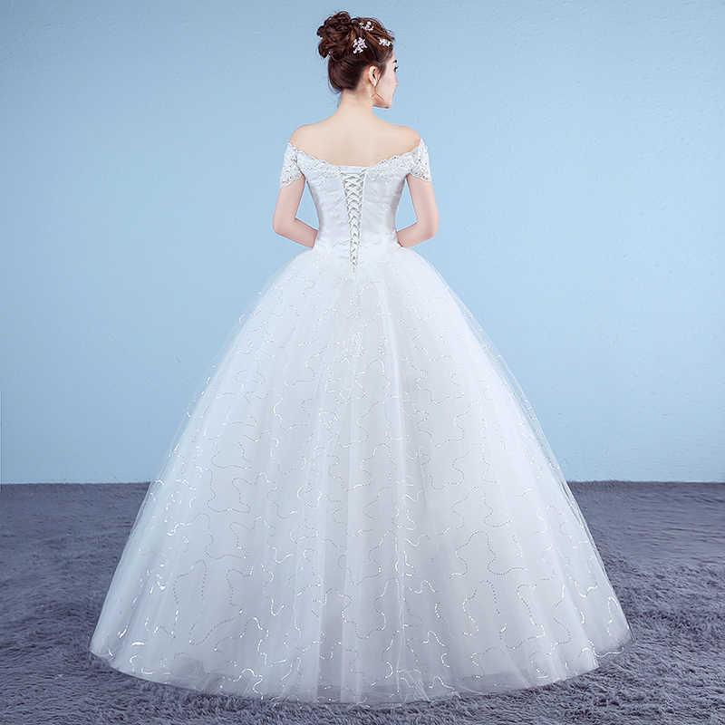 חדש סירת צוואר רקום שמלות כלה 2018 אורגנזה וטול תחרה עד כדור לבן נסיכה זול שמלות כלה Vestido דה Noiva