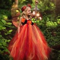 Lüks rüya turuncu siyah çocuk çocuklar sonbahar peri elbisesi sonbahar çiçek kız elbise sonbahar kız Tutu elbise doğum günü için parti giysileri