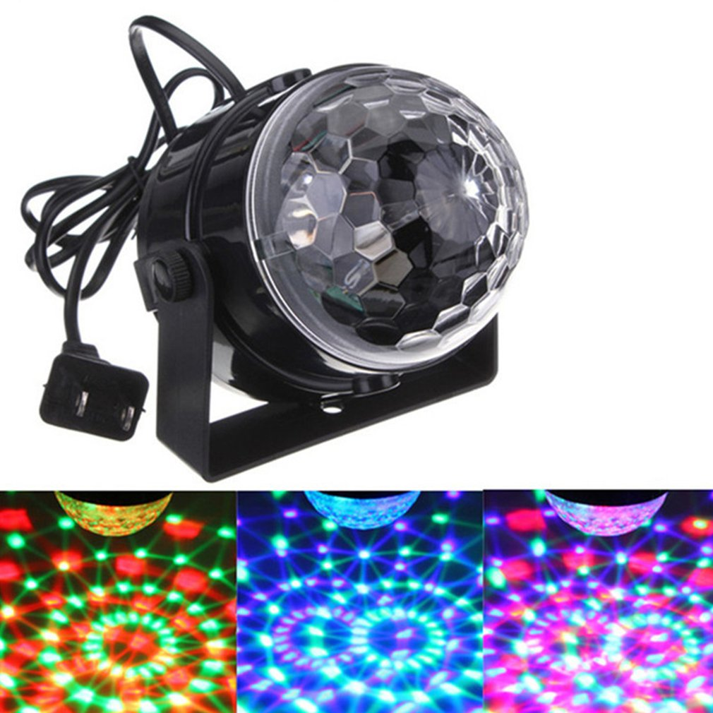 Voice Control RGB LED Stage Lamps Crystal Magic Ball Sound Control Laser Stage Effect Light Party Disco Club DJ Light Drop Ship e27 3w led stage lamps auto rotating rgb projector crystal magic ball laser stage effect light party disco ball club dj lights