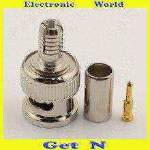 20 piezas 200 piezas 75 3 conector de compresión Snap Seal BNC/Q9 conjunto de tres piezas para Monitor de sistema CCTV con Pin BNC de cobre completo/Q9