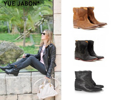 Suede Round Toe Chelsea Boots Wedges Increased Heel Ladies Boots Street Style Women Ankle Boots Autumn Cowboy Ankle Boots Mujer