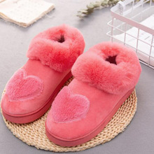 Women Winter Hot Sale Warm Cotton Slippers Shoes Plush Design Heart Printed Mules Female Non-slip Wear-resisting