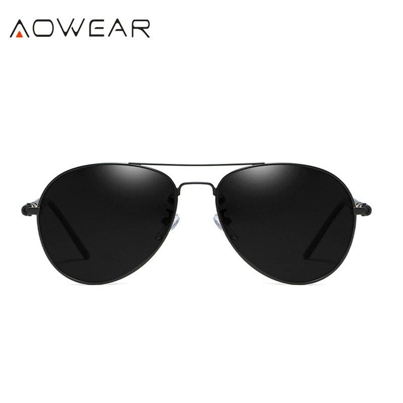 AOWEAR Брендовая Дизайнерская обувь Поляризованные солнечные очки в стиле пилота Для мужчин UV400 вождения очки с зеркальным покрытием линз, солнечные очки с Чехол Gafas De Sol - Цвет линз: C2 Black