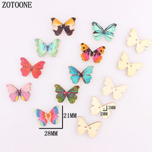 ZOTOONE 50PCS Wooden Sewing Buttons Scrapbooking Colorful Butterfly Mixed Random Two Holes Pattern 28x21mm DIY for Child Girl A