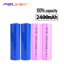 100% Genuine 4PCS Blue Pink Safety 2400mAh 3.7v 18650 lithium rechargeable battery with USB charger