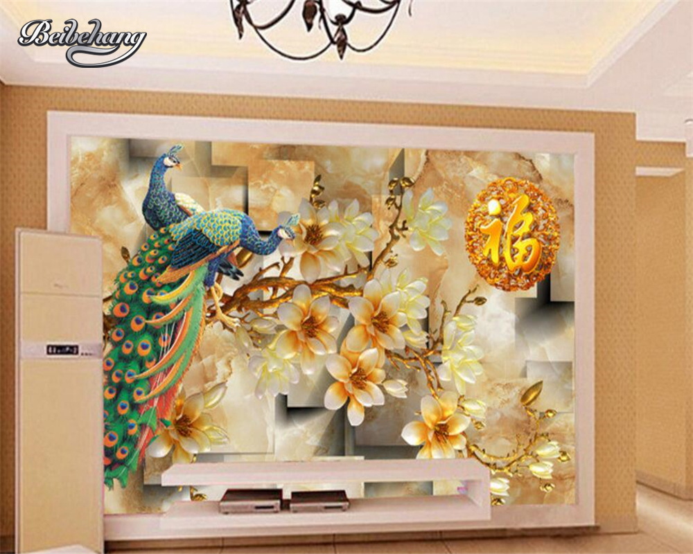 beibehang The mural on the wall of a custom wallpaper peacock mural bedroom living room TV wallpaper for walls 3 d photo shinehome sunflower bloom retro wallpaper for 3d rooms walls wallpapers for 3 d living room home wall paper murals mural roll