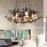 Промышленные Ретро скандинавские железные рамы люстра лампа Освещение Подвеска для дома столовой гостиной кафе бар украшение светильник
