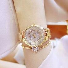 2017 Gold Watch Women Watches Luxury Brand New Geneva Ladies Quartz Rhinestone wrist watches Clock Female Dress Relogio Feminino