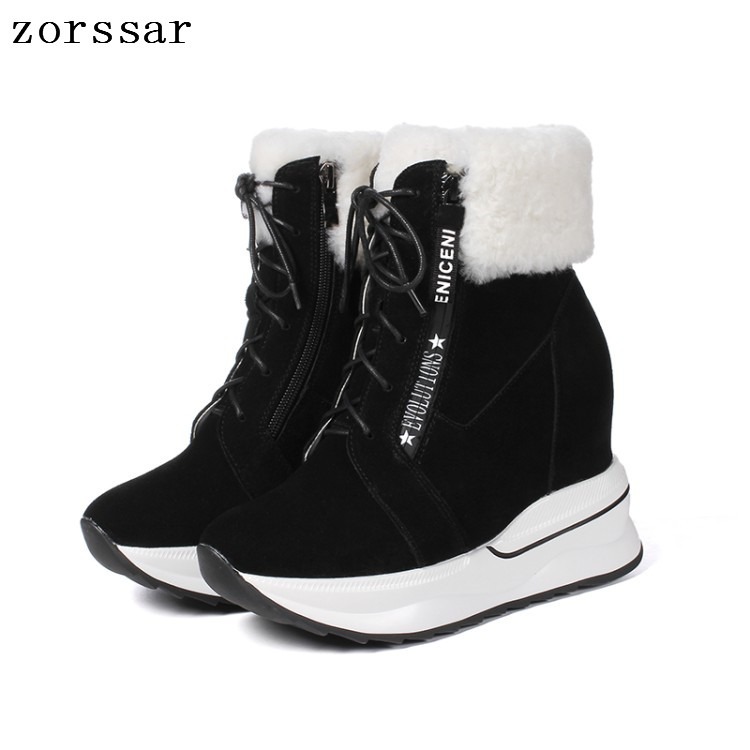 Zorssar 2018 Winter Warm Fur Women Shoes Woman Snow Boots Ankle Platform Wedges boots Fashion Ladies suede Boot Black Footwear zorssar 2017 new classic winter plush women boots suede ankle snow boots female warm fur women shoes wedges platform boots