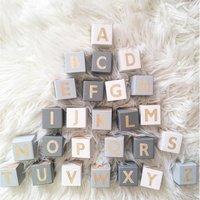 26pcs Wooden Alphabet Blocks Letter Cubes Color Shape Cognition Early Learning Educational Toys for Children Toddler Kids