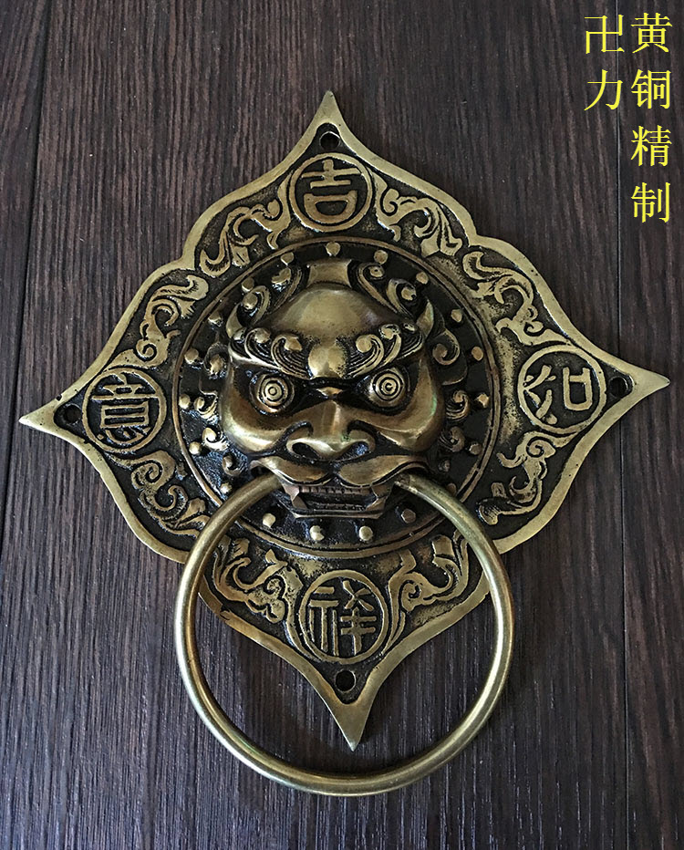Chinese antique wood door handle door handle copper lion glass door knocker Shoutou copper handle купить в Москве 2019
