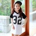 cotton t shirts kids dresses for girls children clothing letters v neck children dresses girls new 2017 white short sleeve tops