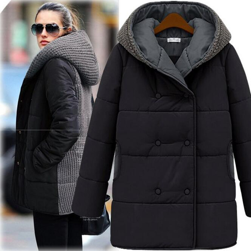 LARRONKETY Winter Knitted Patchwork Coat Women Plus Size Black Beige Warm Hooded Thicken Zipper Jacket Coats Manteau Femme S-3XL inc new women s size small s beige black ombre ribbed cowl neck tunic $79 355
