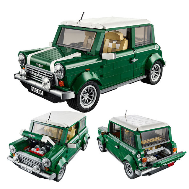 Creator Retro car Toy Legoing Technic Series Cooper T1 Camper Van Light Set Compatible Legoing Car Blocks Kids Toys For Children 3