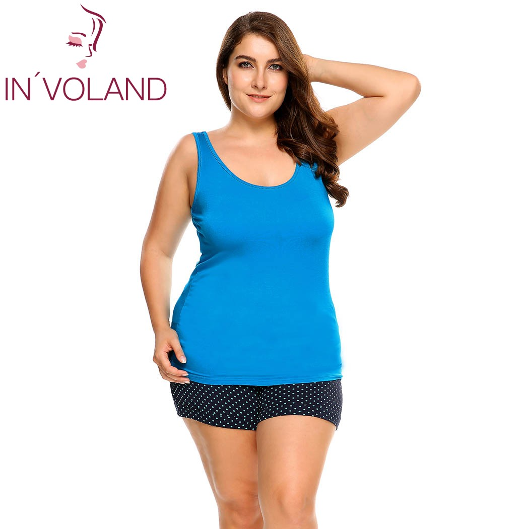 53fd9ea46e6ae IN VOLAND Women Tank Tops Plus Size L-4XL Scoop Neck Solid Casual Cotton  Large Sleepwear Pullovers Female Camisole Oversized