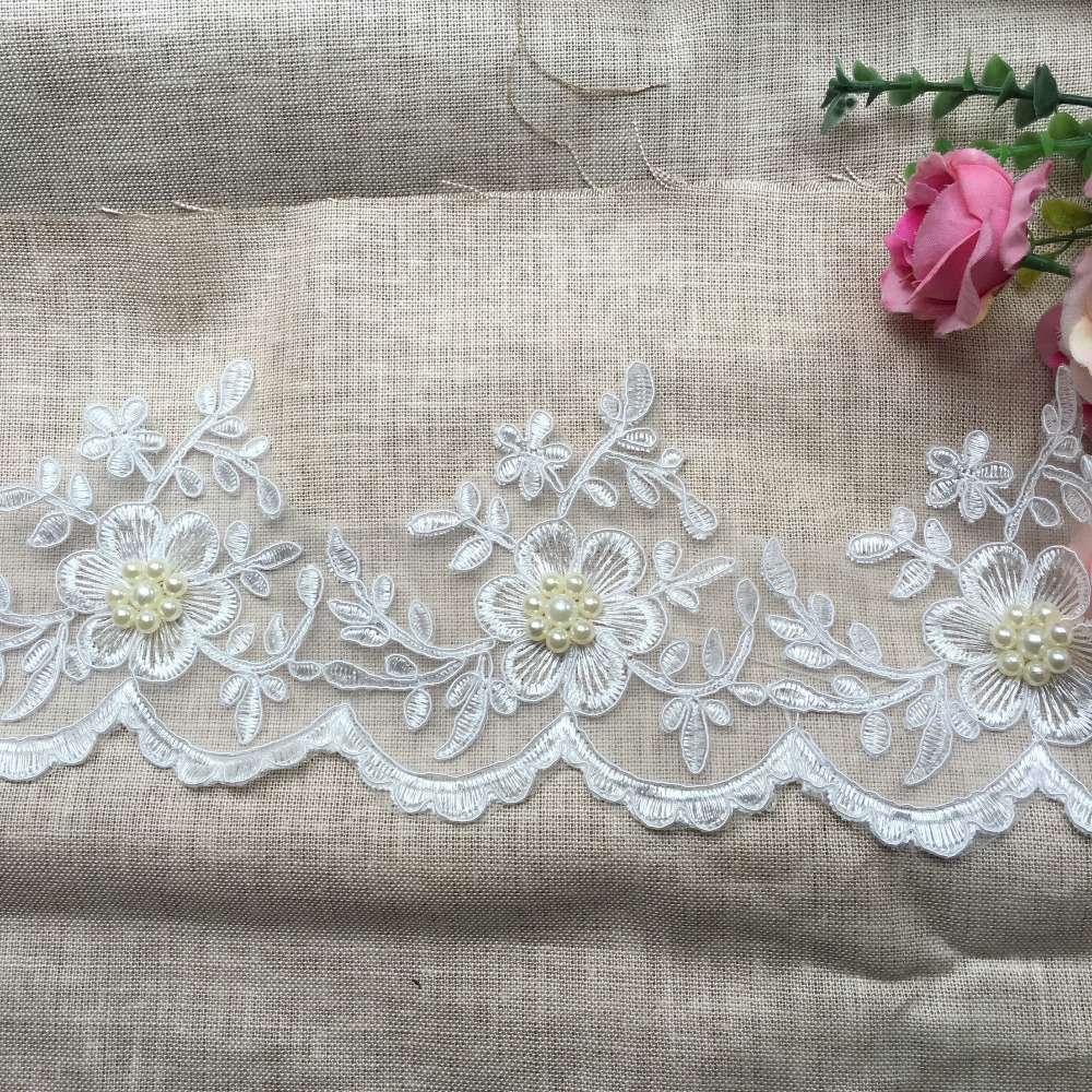 3yds Antique Style  Embroidery Cotton Fabric Crochet Lace Trim 1.5cm wide flower