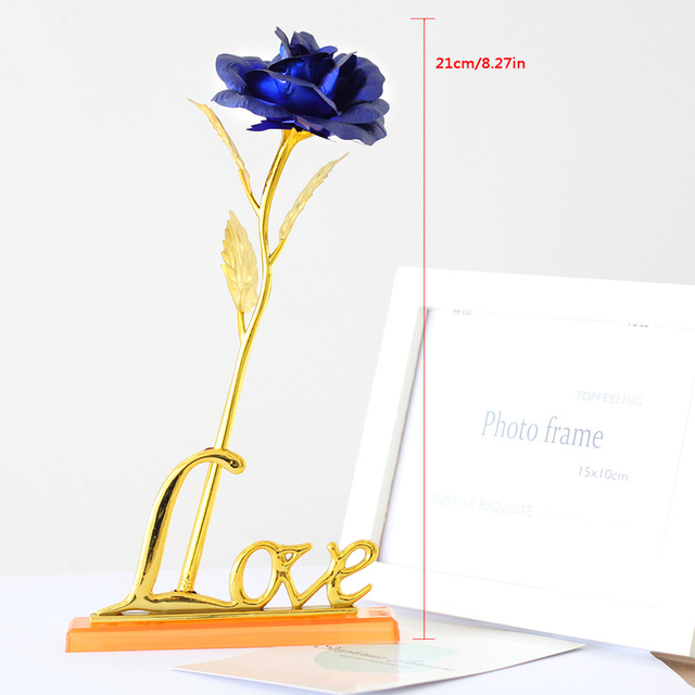 Wedding Favor Birthday Wedding Gift Gold Plated Rose Lover's Flower Dipped Rose Eternal Love Valentine Gifts With Photo Frame
