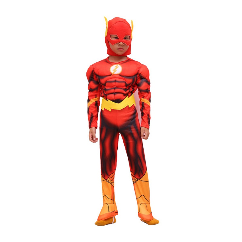 Hot 2018  The Flash Muscle Superhero Fancy Dress Kids Fantasy Comics Movie Carnival Party Halloween Cosplay Costumes