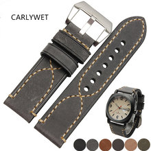 20 22 24 26mm New Men Lady Black Gray Green Dark Light Brown Watch Band Genuine Leather Thick Band Strap Belt Silver Pin Buckle цены