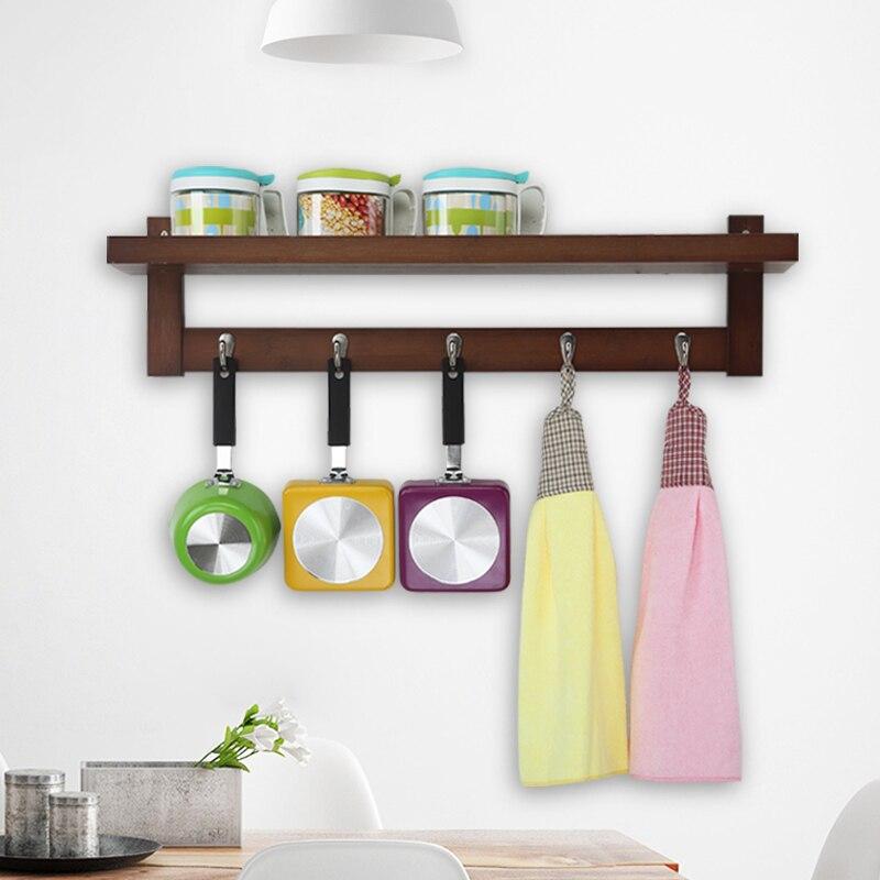 Creative Hanging Hook Real Wood Wall Hanger Shelf Kitchen/Bathroom/Livingroom Multi-purpose Shelf Supporter Storage Holder lemari gantung kamar mandi