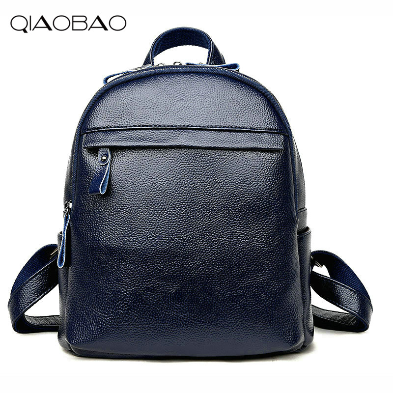QIAOBAO 2018 New Korean Backpacks Fashion Genuien Leather ...