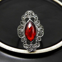 S925 Sterling Silver Retro Thai Silver Open Ended Ring Ladies Index Finger Ring New Atmosphere