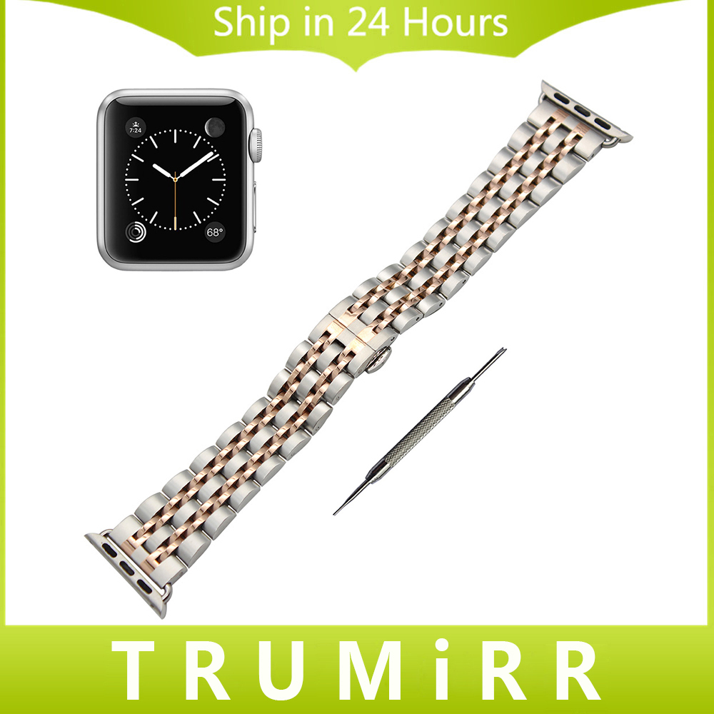 Stainless Steel Watchband + Adapter for iWatch Apple Watch 38mm 42mm Butterfly Clasp Band Wrist Strap Bracelet Black Gold Silver genuine leather watchband alligator grain for iwatch apple watch 38mm 42mm stainless steel butterfly clasp band strap bracelet
