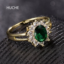 HUCHE Luxury Gold-Color Rings for Wedding Green Flower CZ Zircon Finger Band Rings for Women Lady Mother's Day Jewelry HYJR333