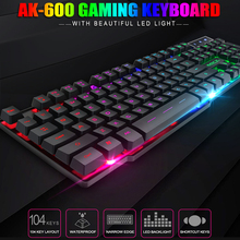 цена на Wired usb keyboard 104 Keycaps LED Backlit Keyboard Gamer Wired USB Computer keyboard English Russian Colorful Backlit Keyboard