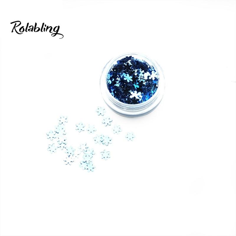 New Hot Sale Trend Dark Blue Christmas Snowflake Design Nail Art Accessories Glitter Powder Acrylic Fluorescent Paint