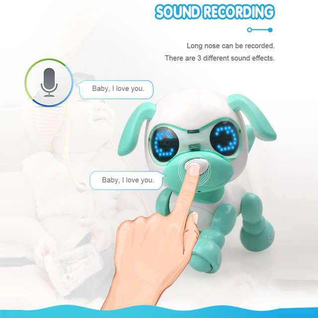 Robot toy dog UInteractive Smart Puppy Robotic Dog LED Eyes Sound Recording Sing Sleep Cute action figure Education D301212 3