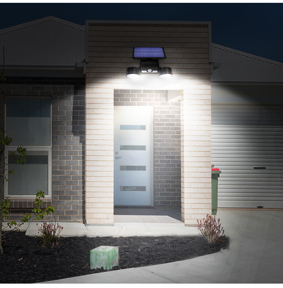Dual Headed and Waterproof Solar Outdoor Light with 30 Adjustable Angled LED Lights for Garden and Street 14
