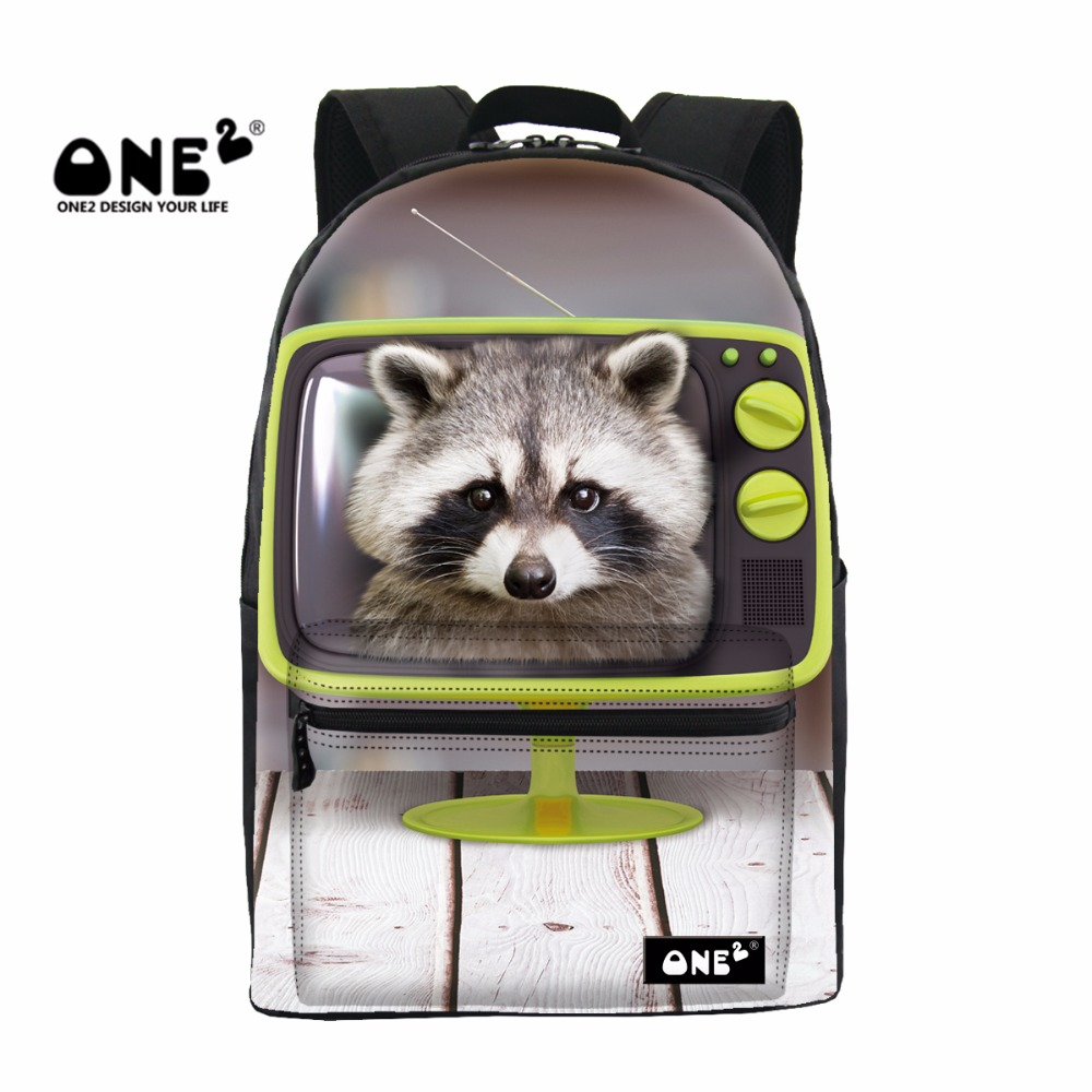 ONE2 2017 New Design schoolbag backpack printing with Small Raccoons about Television Animals Series for teenager boys and girls чехол для карточек who let the raccoons out дк2017 094