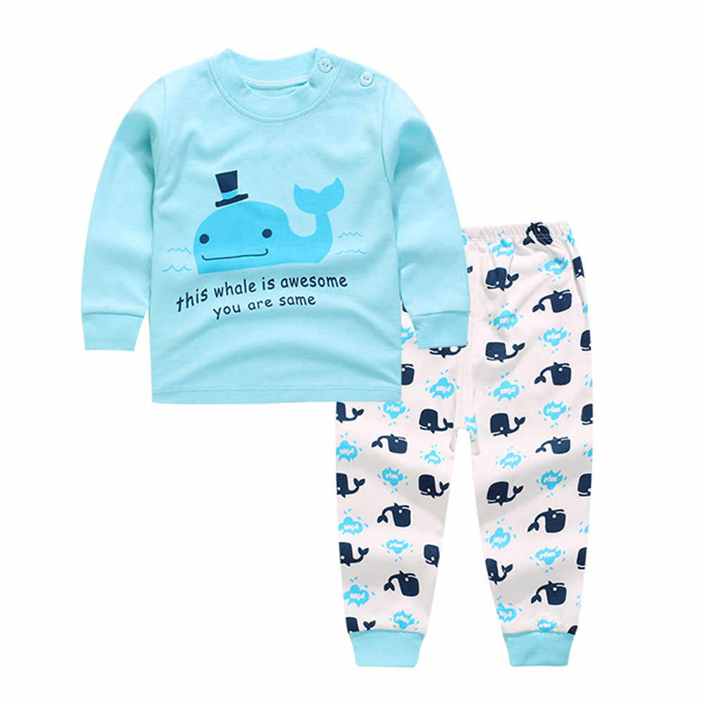 2019 Baby girl clothes suit Newborn Infant Baby Boys Girls Cartoon Print Hoodie Tops Shirt Pants Kids Clothes Suit dropshipping
