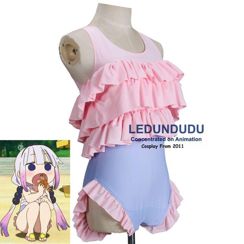 2017 Anime Kobayashi san Chi no Maid Dragon Cosplay Costume Kanna Swimwear Sukumizu Miss Kobayashis Dragon Maid Bathing Suit