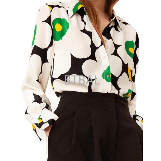 e056c2e1b5f 2 colors Finland poster 100% silk poppy flower print long sleeve lady  blouses women soie shirt spring autumn