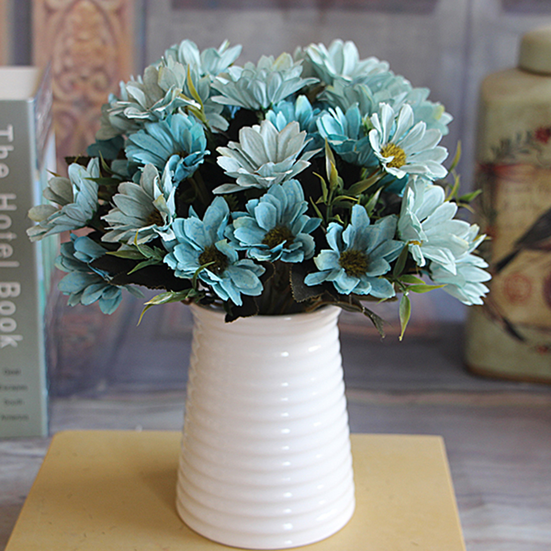 Retail 6 branches 10 head floral artificial flower bouquet silk artificial daisy silk flower aeproduct dhlflorist Gallery