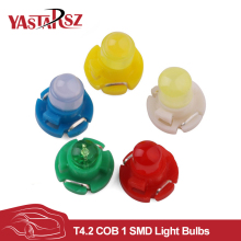 Bright 10 PCS T4.2 COB 1 SMD 12V Car LED Dashboard Winding Light Bulbs Instruments Panel Wedge Light Warning Indicator