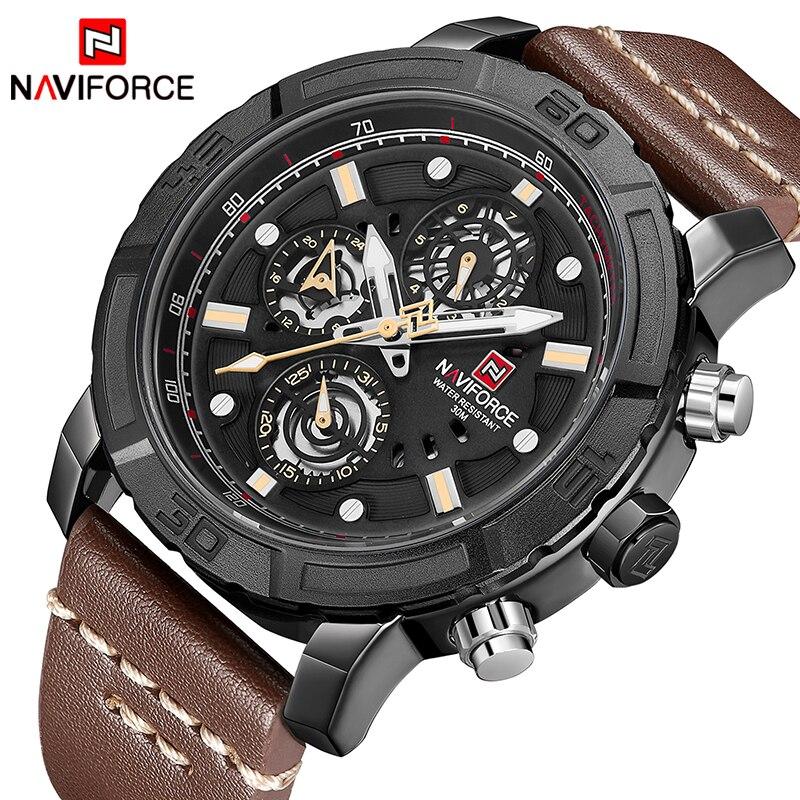 лучшая цена Mens Watches NAVIFORCE Top Luxury Brand Male Leather Multi-function Quartz Watch Mens Waterproof Sport Clock Relogio Masculino