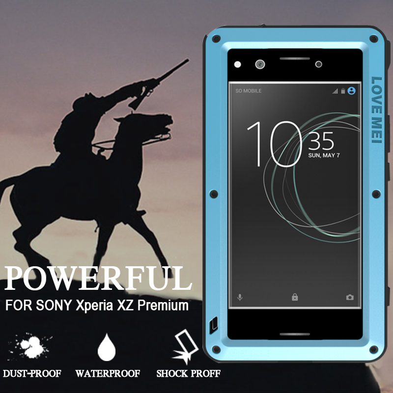 imágenes para Funda impermeable para Sony Xperia XZ Premium Cubierta Del Metal de Aluminio Con Vidrio Templado A Prueba de Golpes para Sony Xperia Caso Prima XZ